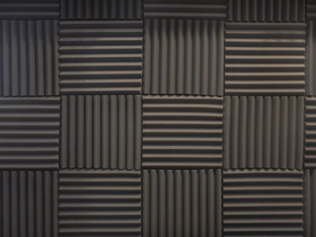Acoustical foam or tiles for sound dampening. Music room. Soundproof room. Low key photo.