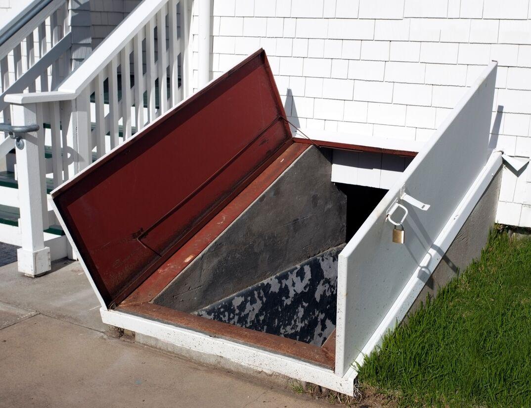 a residential basement storm shelter