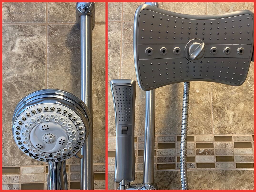 side by side  before and after  photo of an old shower head and its new replacement