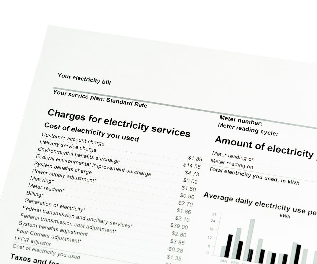 a recent electrical bill is displayed showing a bar graph of kilowatt usage