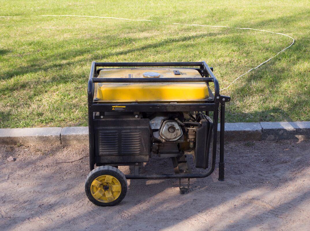 Portable  job site  diesel generator on the street