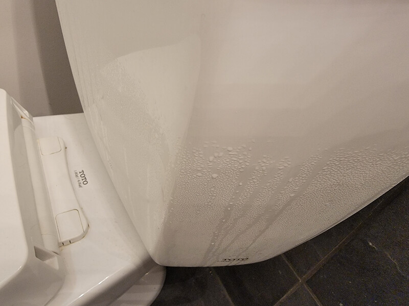 condensation on the outside of a toilet