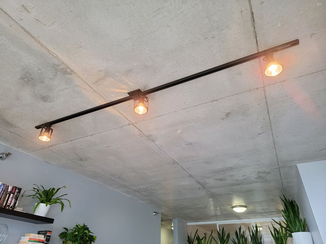 Installed ceiling lights in living room