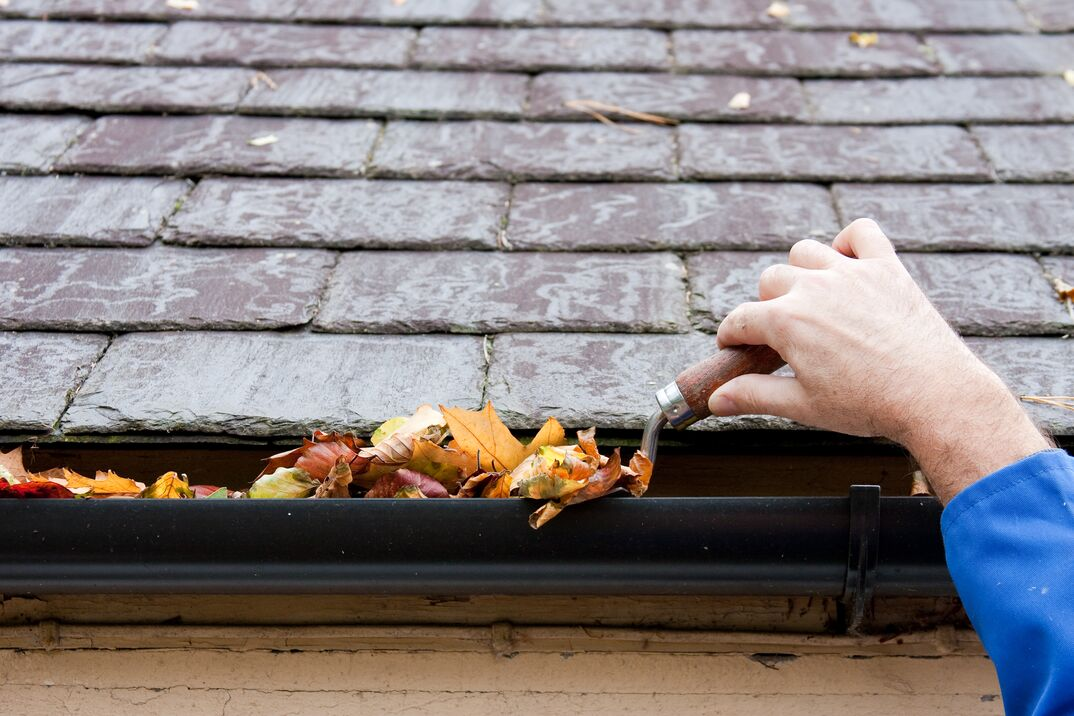 man cleaning out leaves from gutters