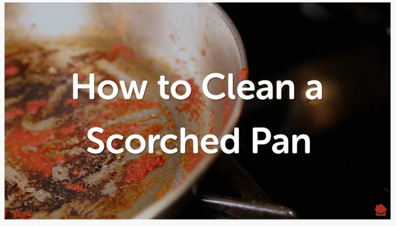a dirty and burnt pay sits on a stove with the words  How to clean a scorched pan  in front of the pan