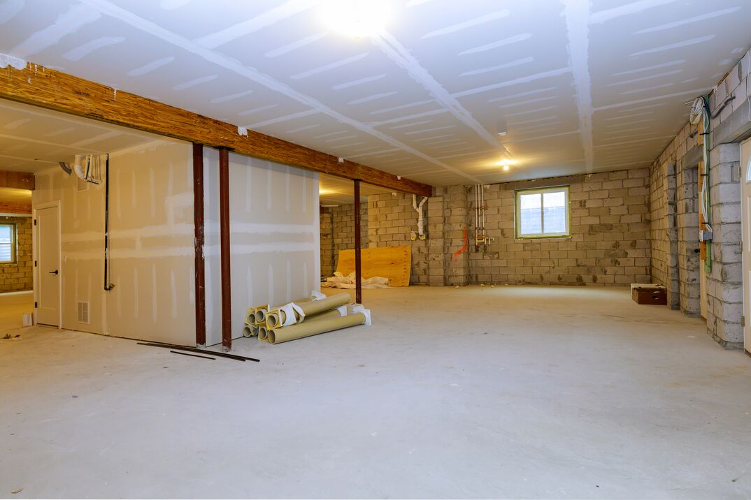 empty basement in the middle of renovation