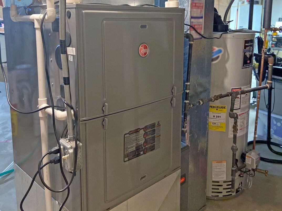 HVAC unit in homeowners basement