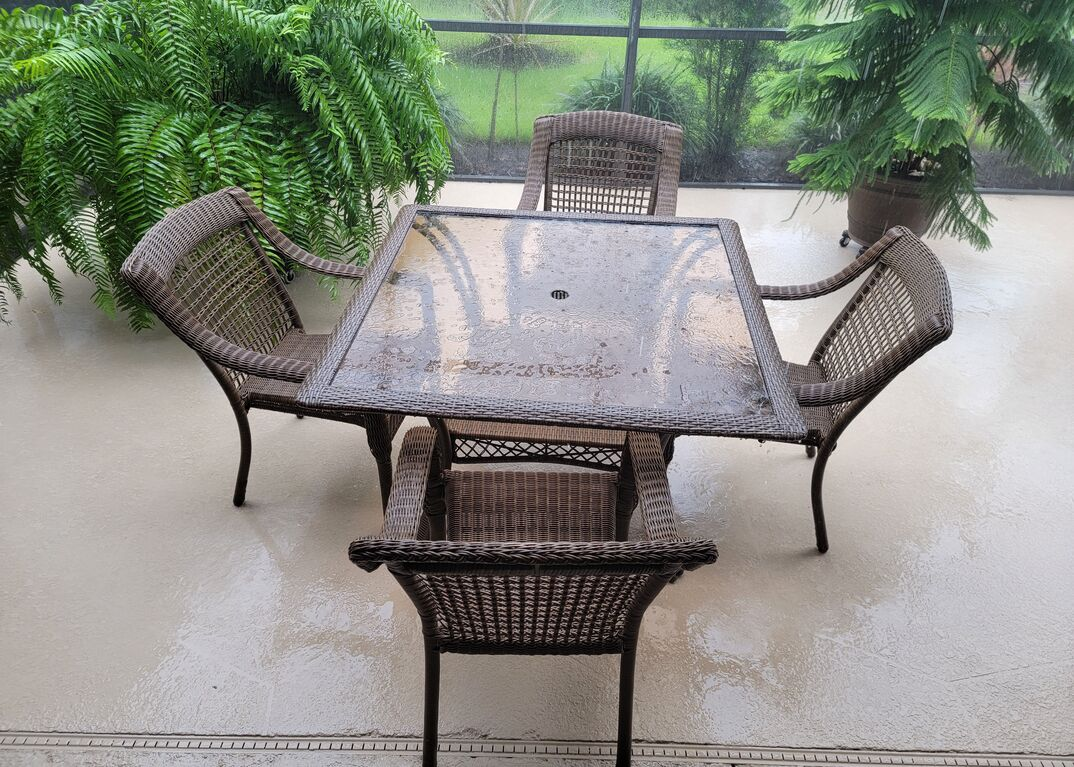 Outdoor patio furniture on a rainy day