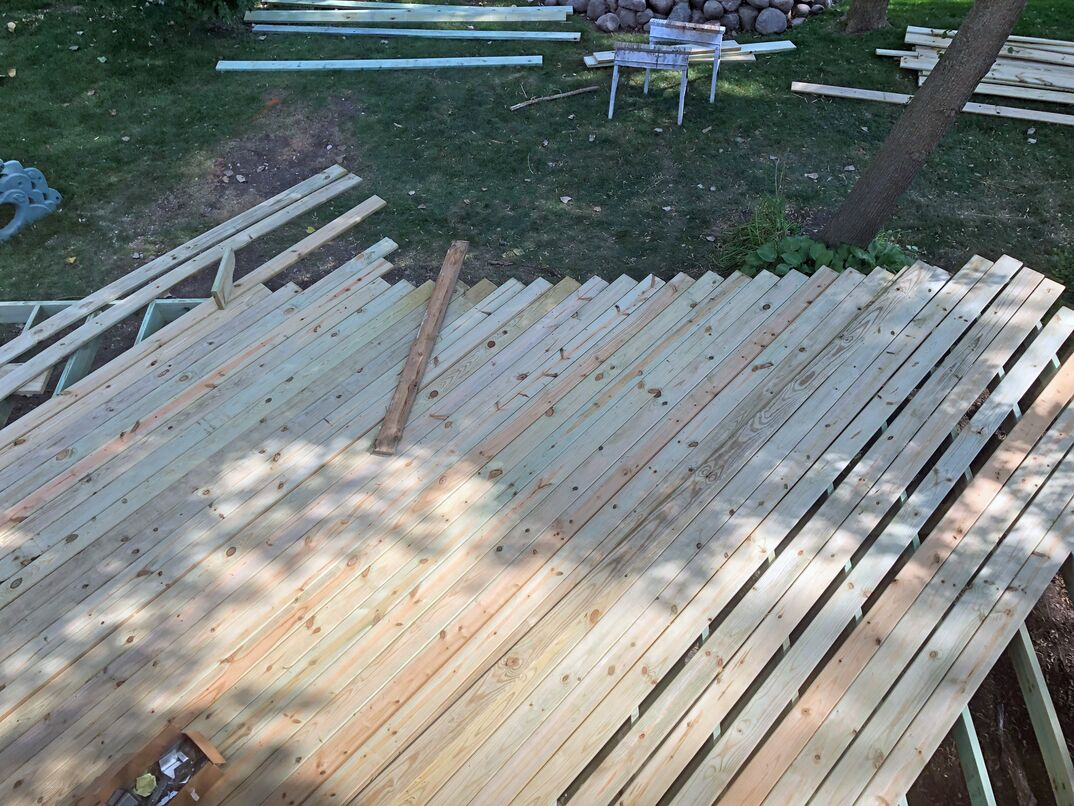 bird s eye view of unfinished decking