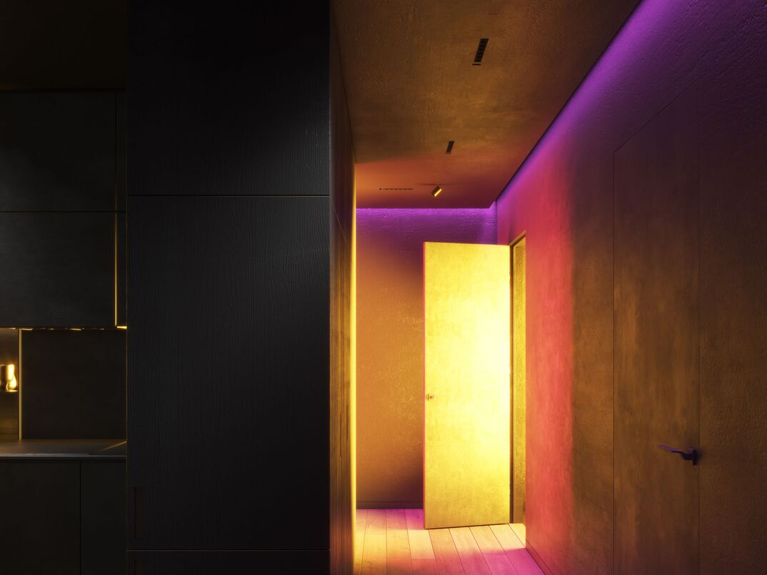 Multi-colored lighting in the corridor of the apartment