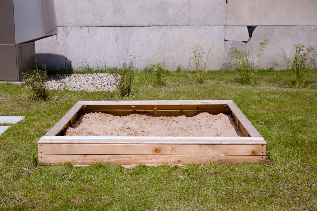 Sandbox in the playground for small children