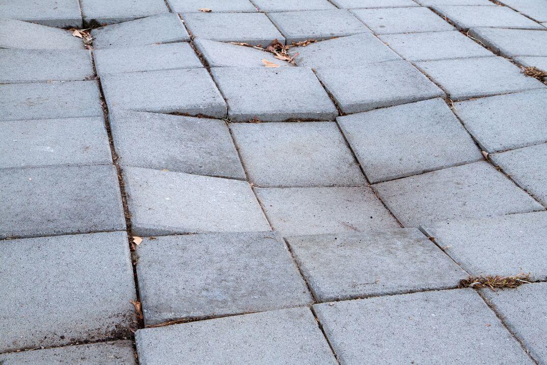 Sinking Sidewalk made of paver stones
