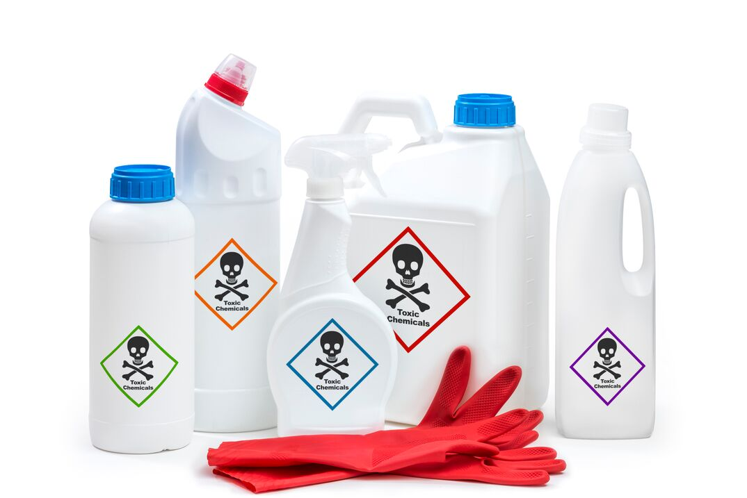 multiple household chemical cleaner products with  poison symbol  on them