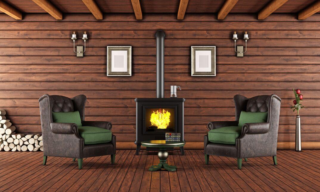 Wood-burning stove heating home