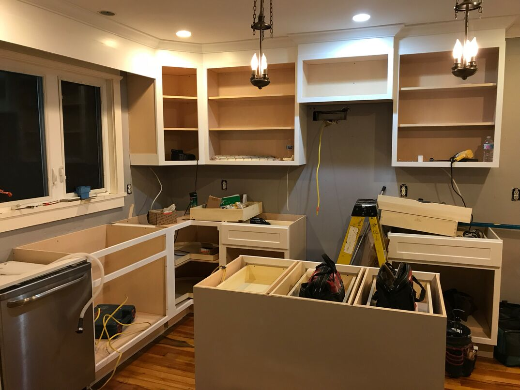 Kitchen renovation - cabinet and island installation
