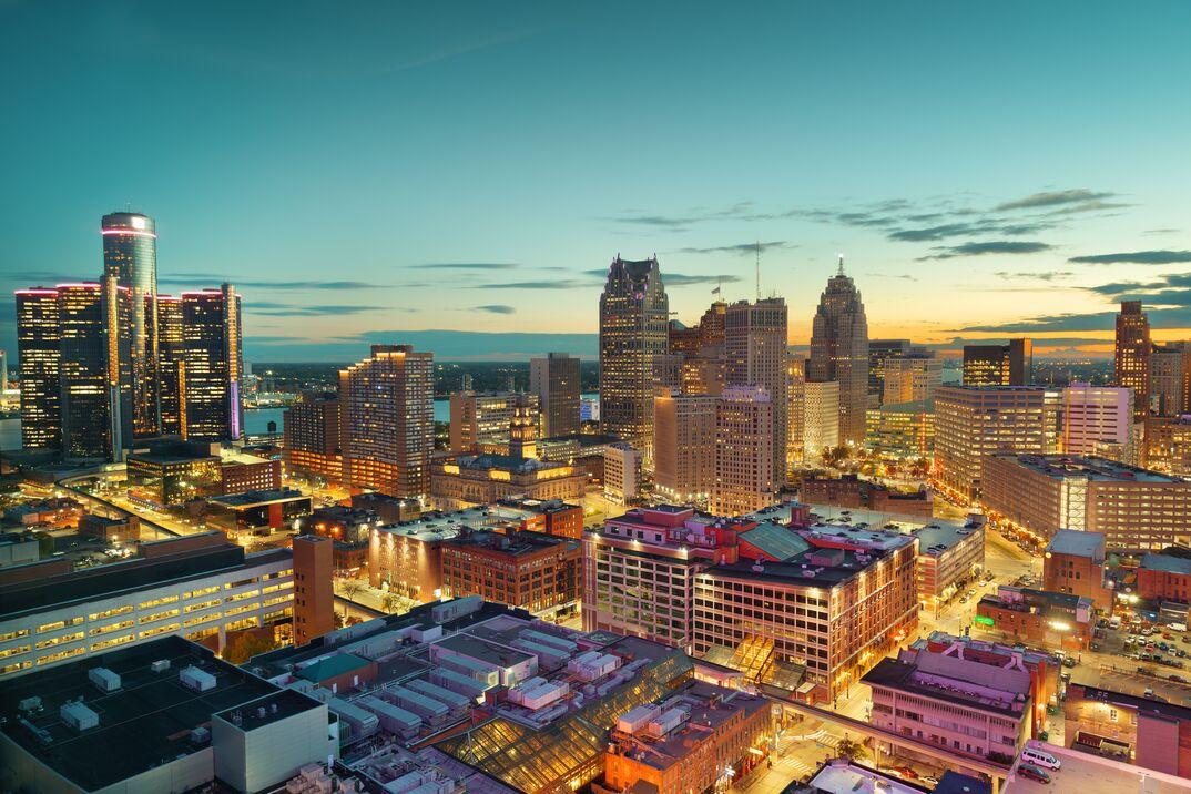 Detroit, Michigan, USA Downtown Skyline