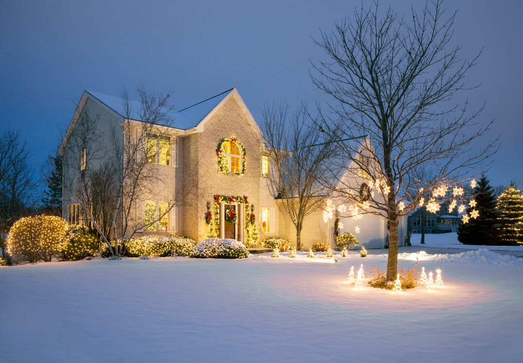 Christmas Decorated Home With Holiday Lighting