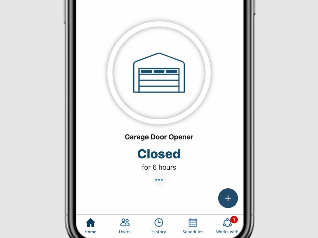 Simulated image of a smart garage door app being used on an iPhone