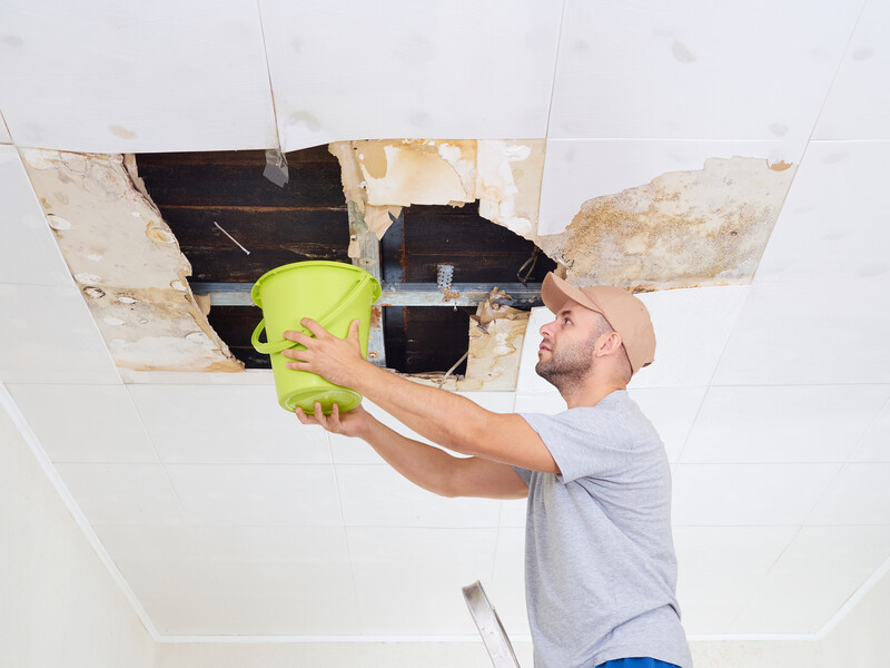 man holding bucket under ceiling leak