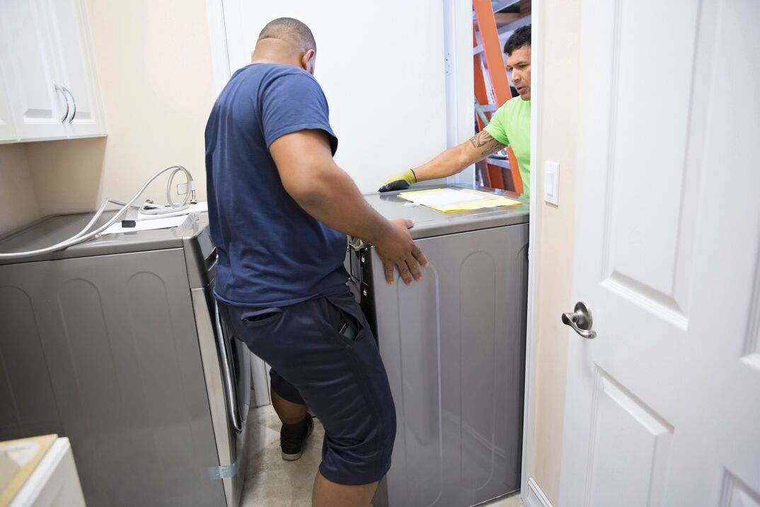 Series- Real appliance delivery men installing new washer and dryer