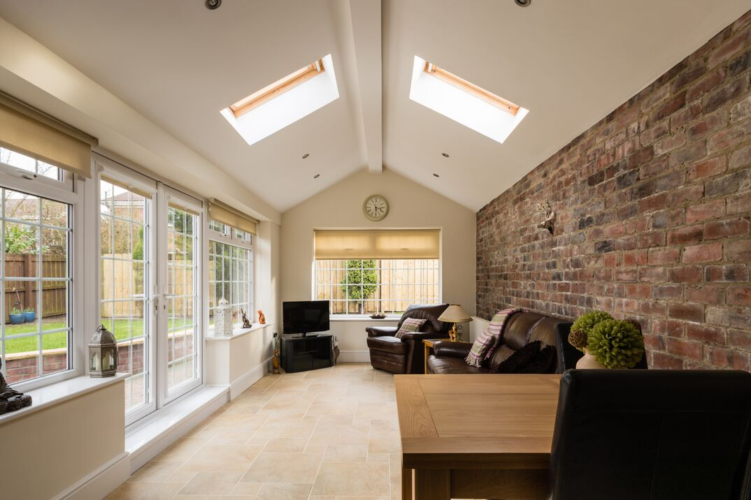 wide shot of a residential Sun Room