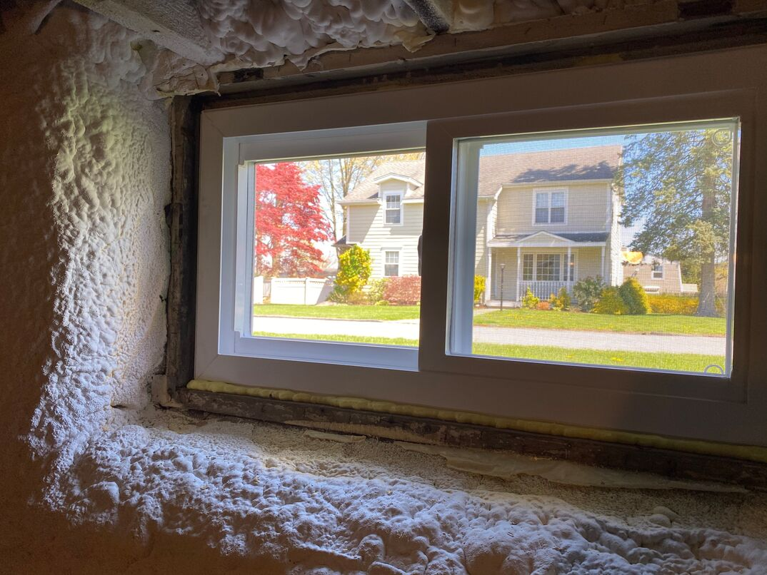 Spray foam insulation in basement