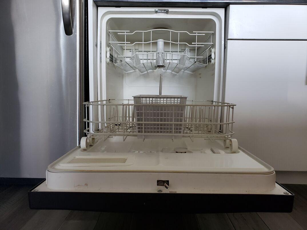 open white clean dishwasher
