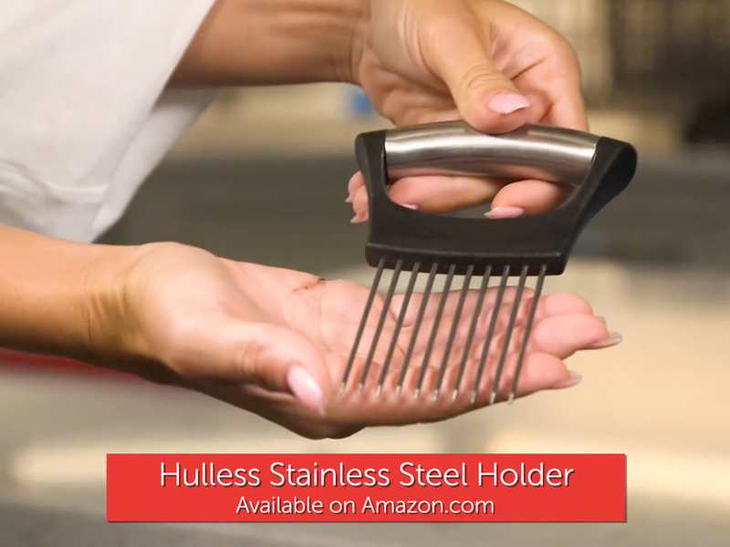 female hands holding and displaying a stainless steel holder