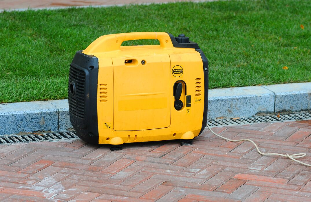 Using a yellow portable inverter generator on the street