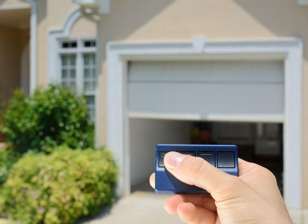 Person using garage door opener