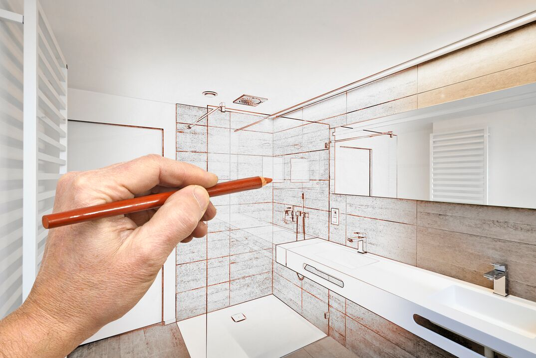 a drawn visualization of a luxury bathroom renovation in the existing room