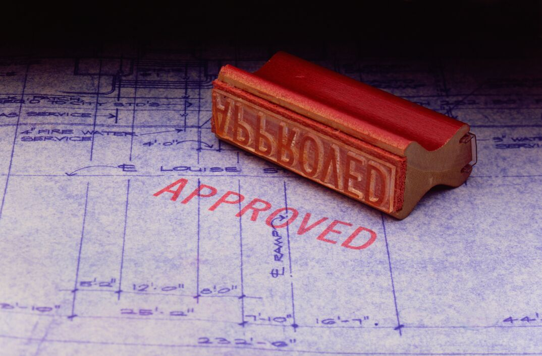 photo of an  approved  stamp on a local building permit