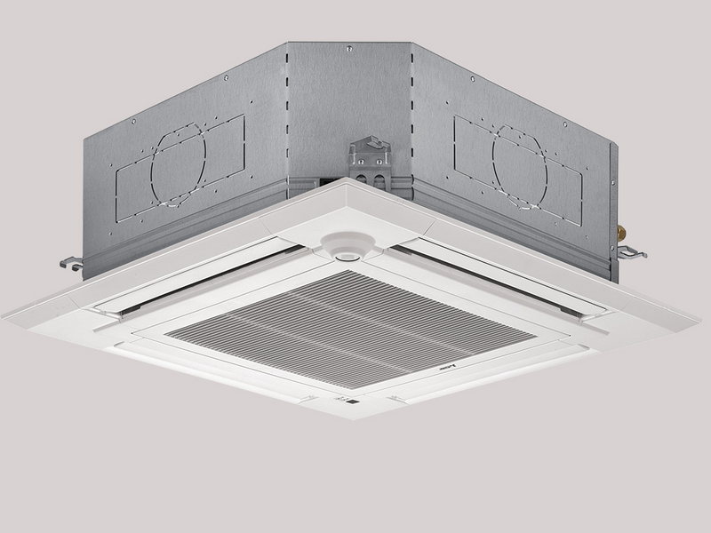 product photo of a Mitsubishi FOUR-WAY CEILING CASSETTE for a concealed mini-split AC unit.