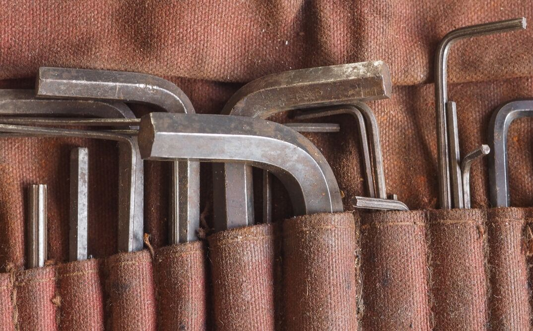 An allen wrench tool kit made of canvas