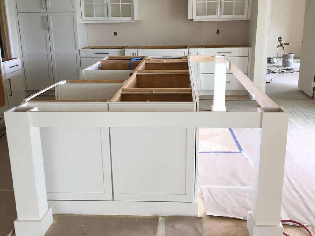 Residential Kitchen Island Under Construction