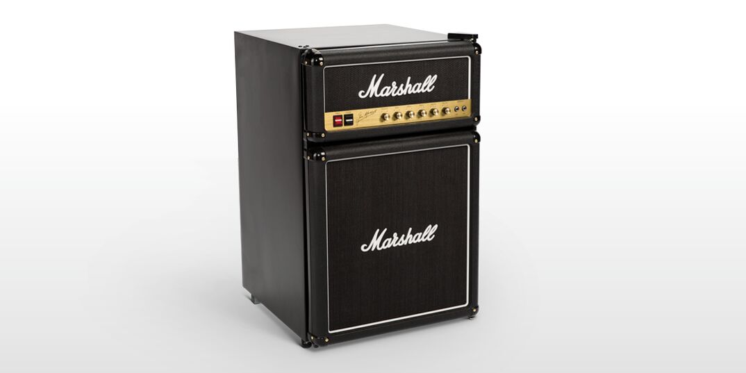 a manufacturer supplied photo of a Marshall Medium Capacity Bar Fridge that mimics the look of the iconic marshall stack amplifier