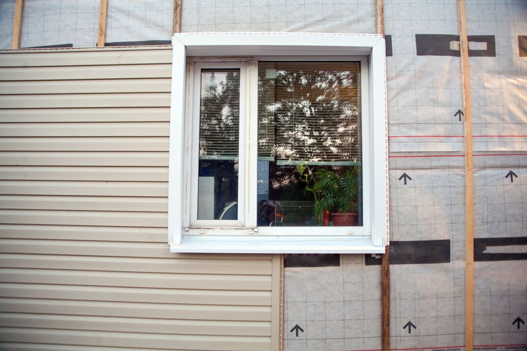 with house siding background