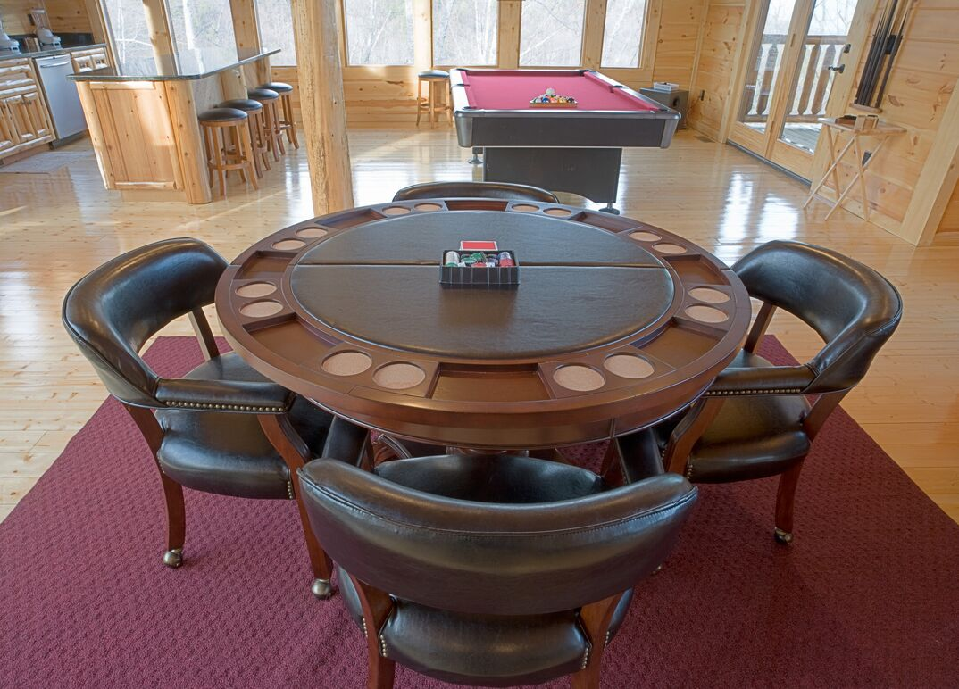 Card table in the game room