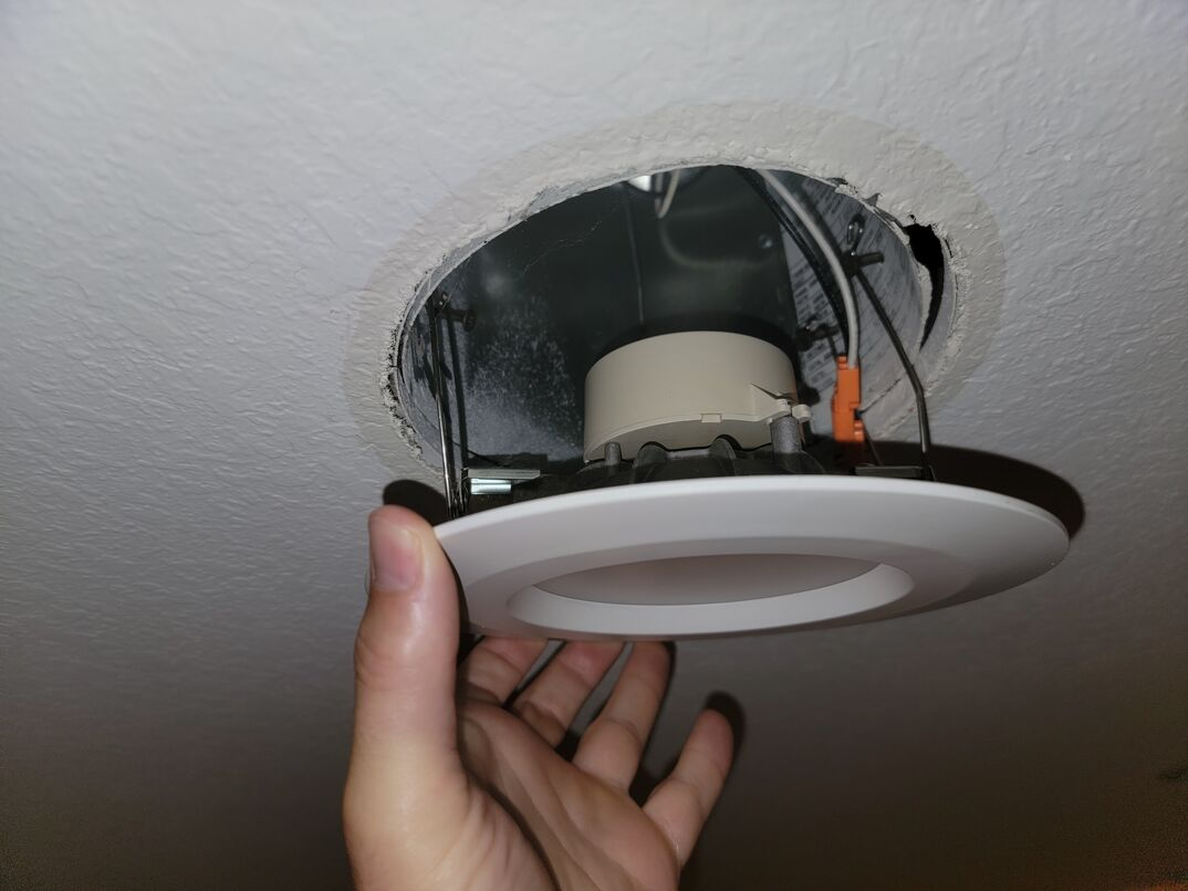 Installing recessed ceiling light