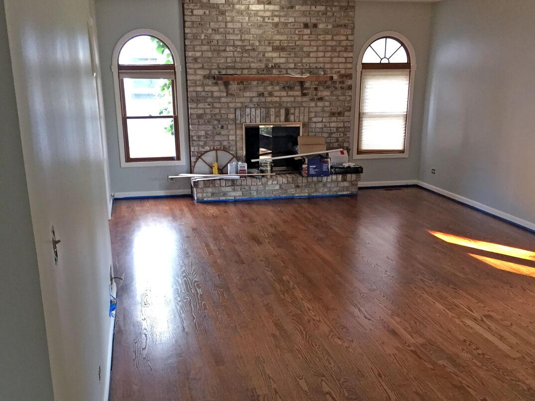 a freshly stained and polyurethaned hardwood floor