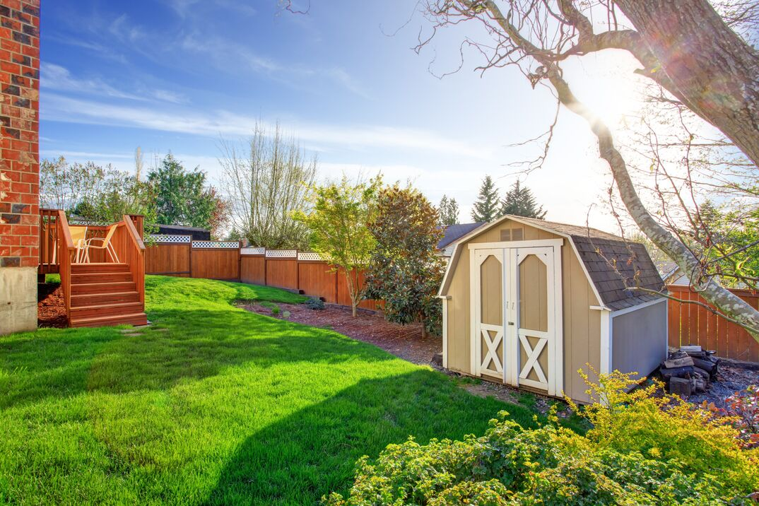 a very color saturated backyard with a tall fence and a barn-style backyard shed in the corner of the lot