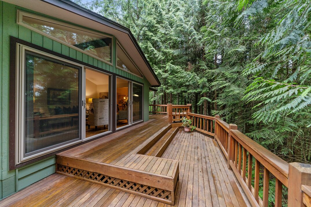 Beautiful outdoor deck with a green house and pine trees