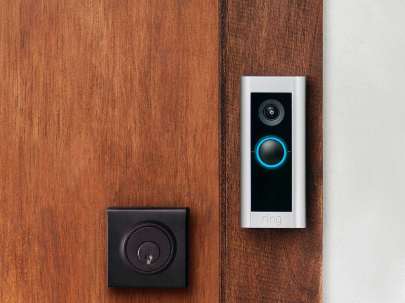 Close up shot of a 2nd generation Ring video doorbell on a residential home