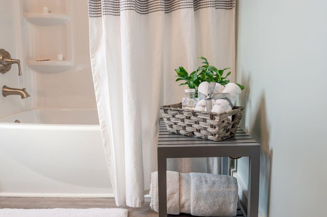 clean modern bathroom and shower curtain