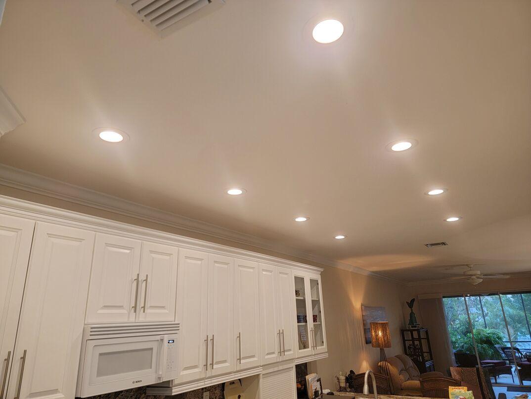 Installed ceiling lights in kitchen