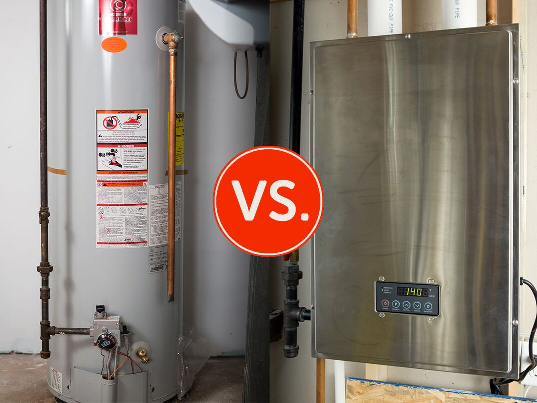 side by side image of a traditional tank and modern tankless water heater