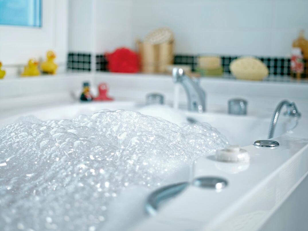 Bubble bath filled tub
